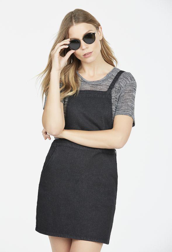 Denim Pinafore Dress In Black Get Great Deals At Justfab