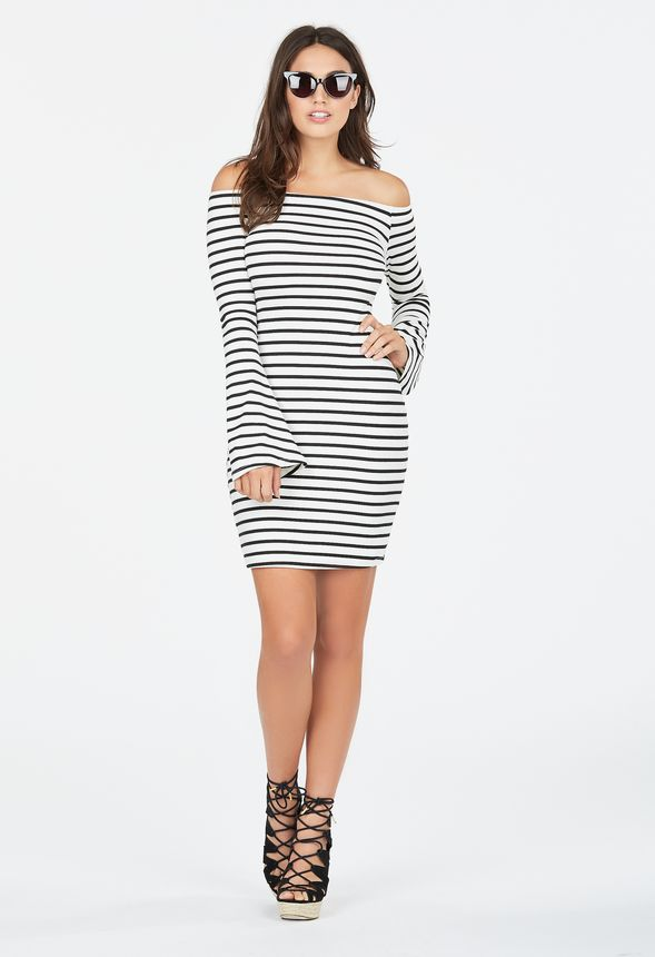 17c119a58bf36 Off Shoulder Stripe Dress in Off-White - Get great deals at JustFab
