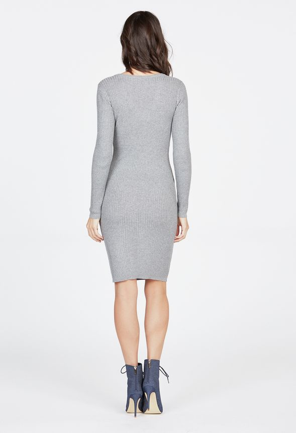 47e7d4dc99f V-Neck Ribbed Sweater Dress in Heather Grey - Get great deals at JustFab
