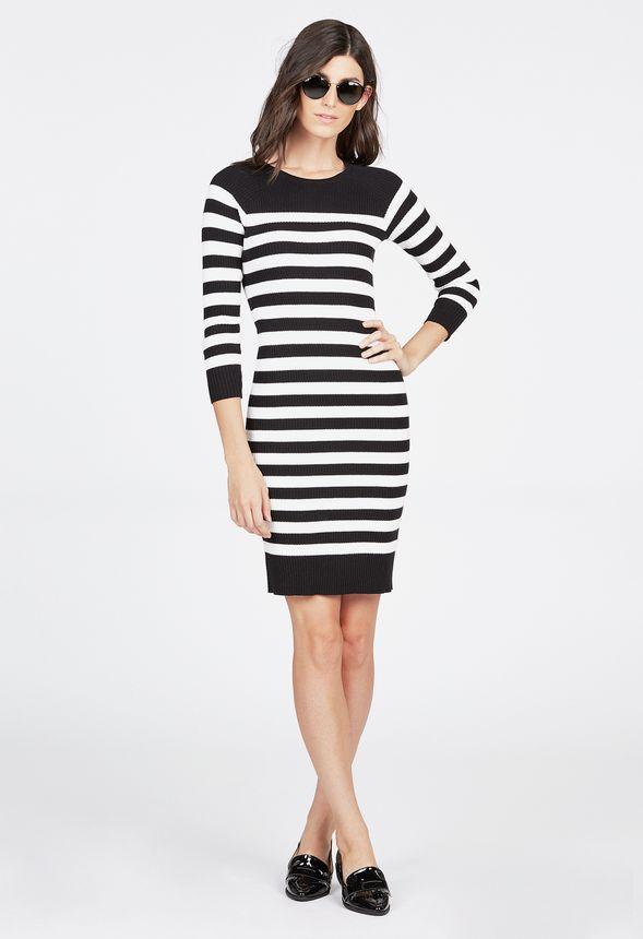 07ef467d72 Crewneck Sweater Dress in Black Multi - Get great deals at JustFab