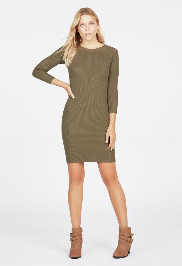 Crewneck Sweater Dress in dark olive - Get great deals at JustFab 6fd46bc38