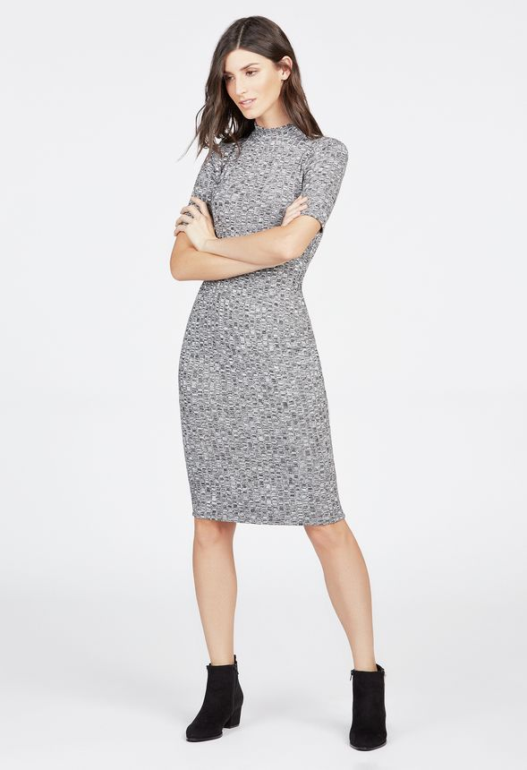 e23995a5d44d Mock Neck Ribbed Knit Midi in Grey Multi - Get great deals at JustFab