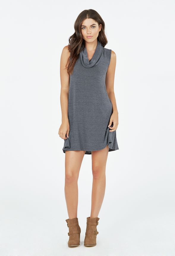Cowl Neck Swing Sweater Dress in Gray - Get great deals at JustFab