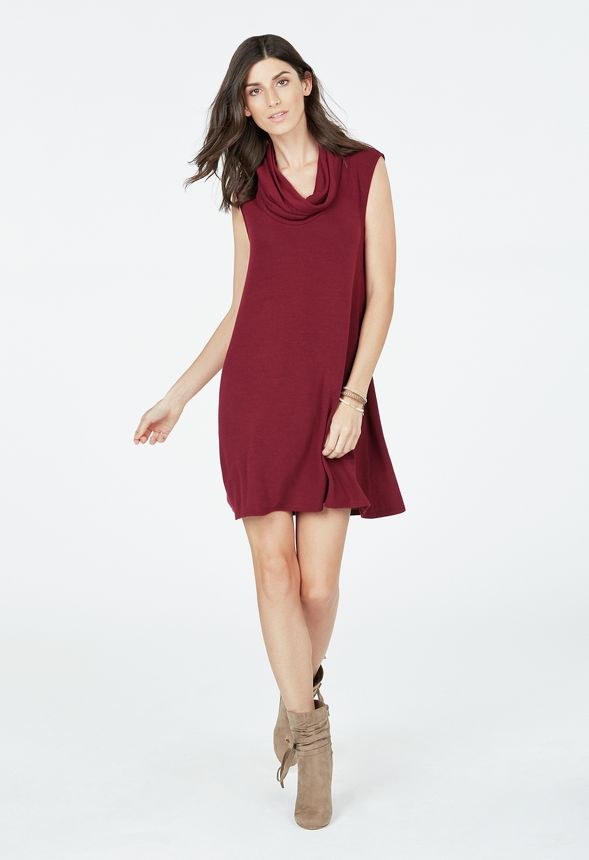 Cowl Neck Swing Sweater Dress in Burgundy - Get great deals at JustFab