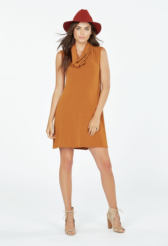 Cowl Neck Swing Sweater Dress in Mustard - Get great deals at JustFab