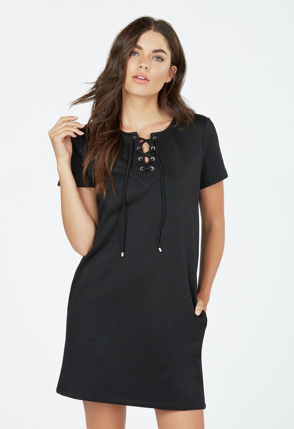 Lace Up Sweatshirt Dress in Black - Get great deals at JustFab 8896e2011