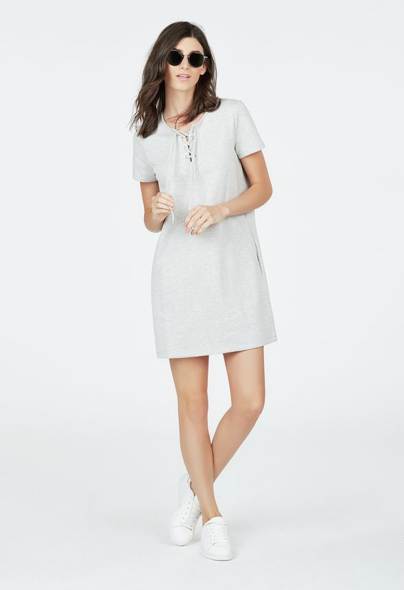 bbde9ea2221 Lace Up Sweatshirt Dress in Gray - Get great deals at JustFab