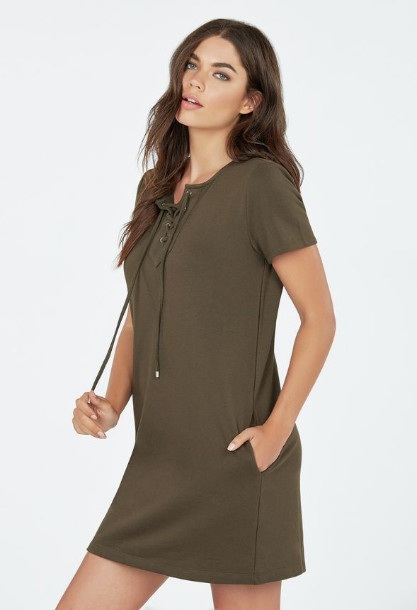 8345f6670cb Lace Up Sweatshirt Dress in Olive - Get great deals at JustFab