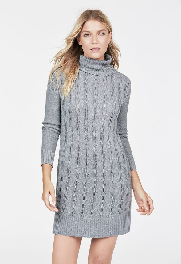Relaxed Cable Knit Sweater Dress In Heather Grey Get Great Deals