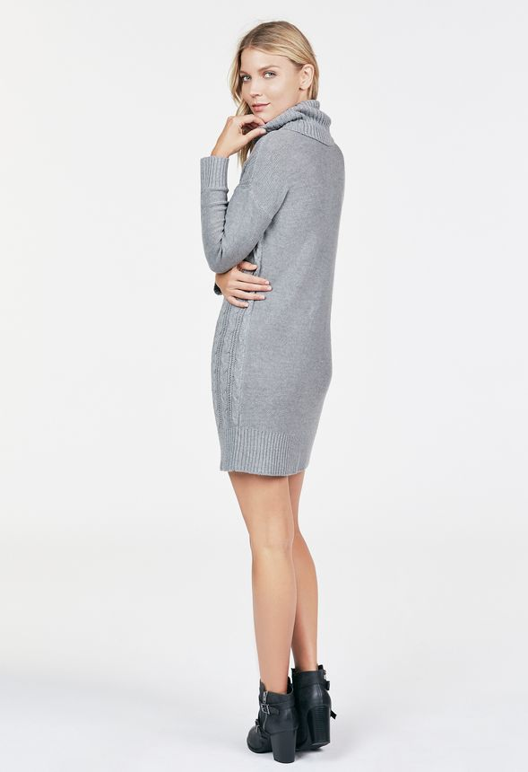 98154e56652 Relaxed Cable Knit Sweater Dress in Heather Grey - Get great deals ...