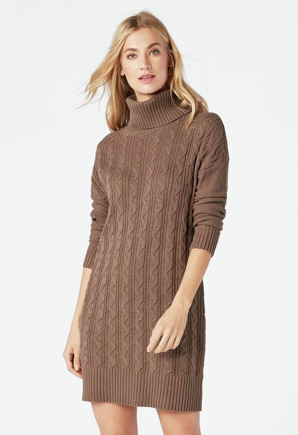 d3121d869924 Relaxed Cable Knit Sweater Dress in chocolate chip - Get great deals at  JustFab