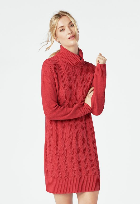 bf827966cbd Relaxed Cable Knit Sweater Dress in SCARLET SAGE - Get great deals at  JustFab