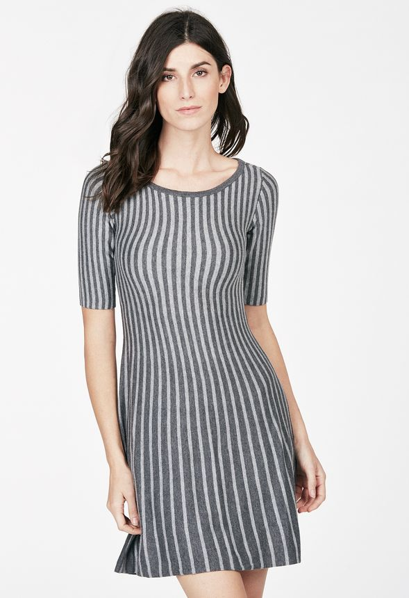 e67bd1684f2ce6 Fit And Flare Sweater Dress in dark grey  light grey - Get great deals at  JustFab