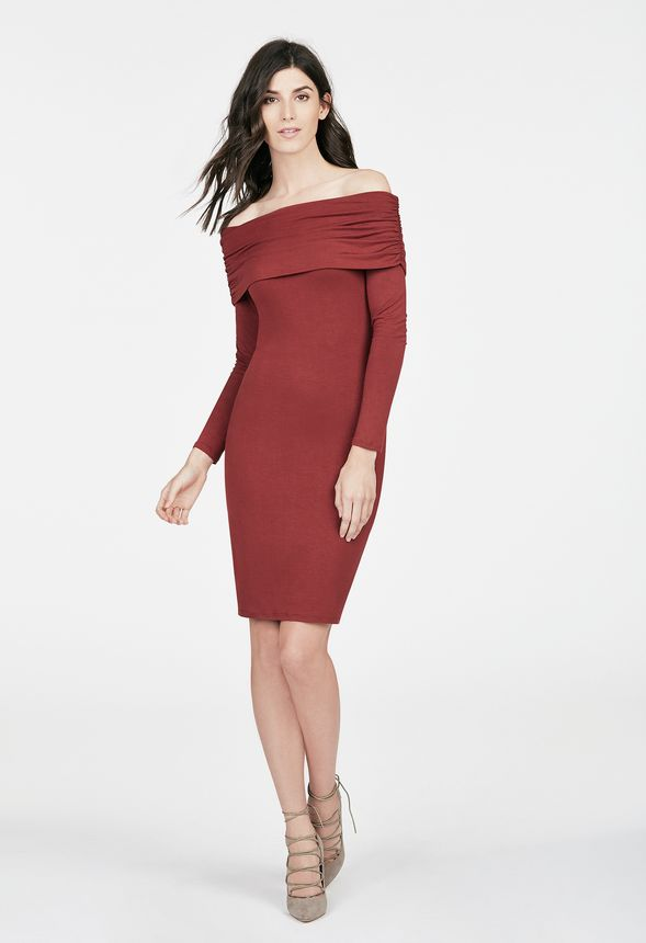 0611279a81a Ruched Off Shoulder Dress in SIENNA - Get great deals at JustFab