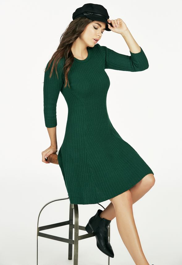 Rib Fit And Flare Sweater Dress In Winter Green Get Great Deals At