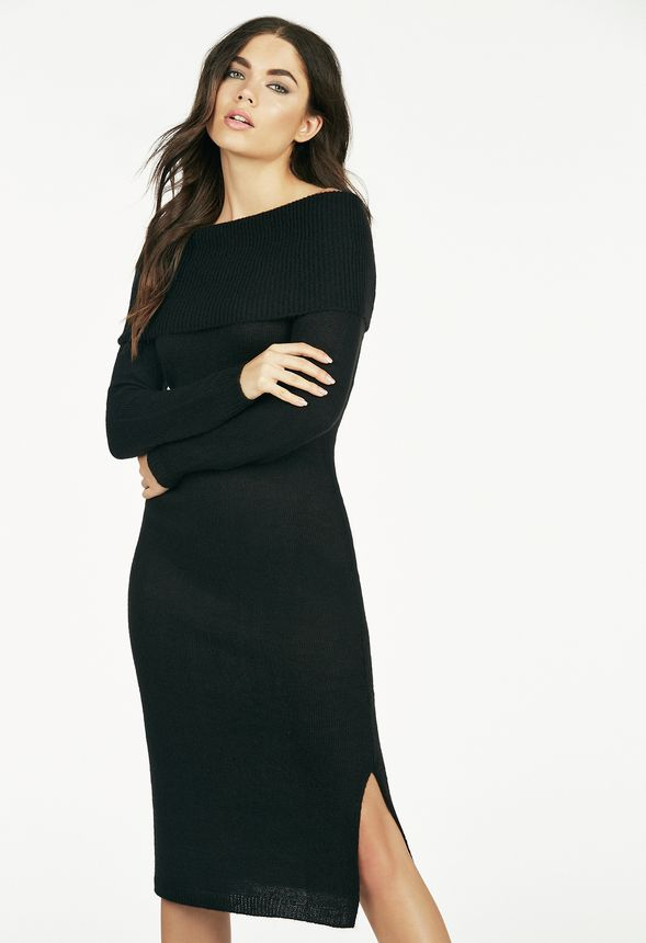 Off Shoulder Sweater Dress In Black Get Great Deals At Justfab
