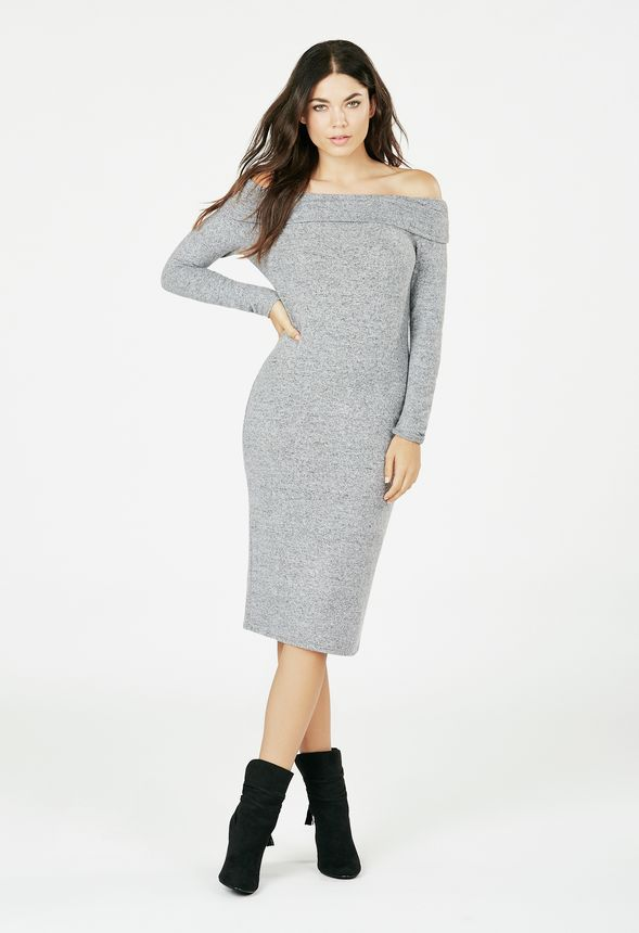 458c264872995 Luxe Off Shoulder Midi Dress in Light Grey - Get great deals at JustFab