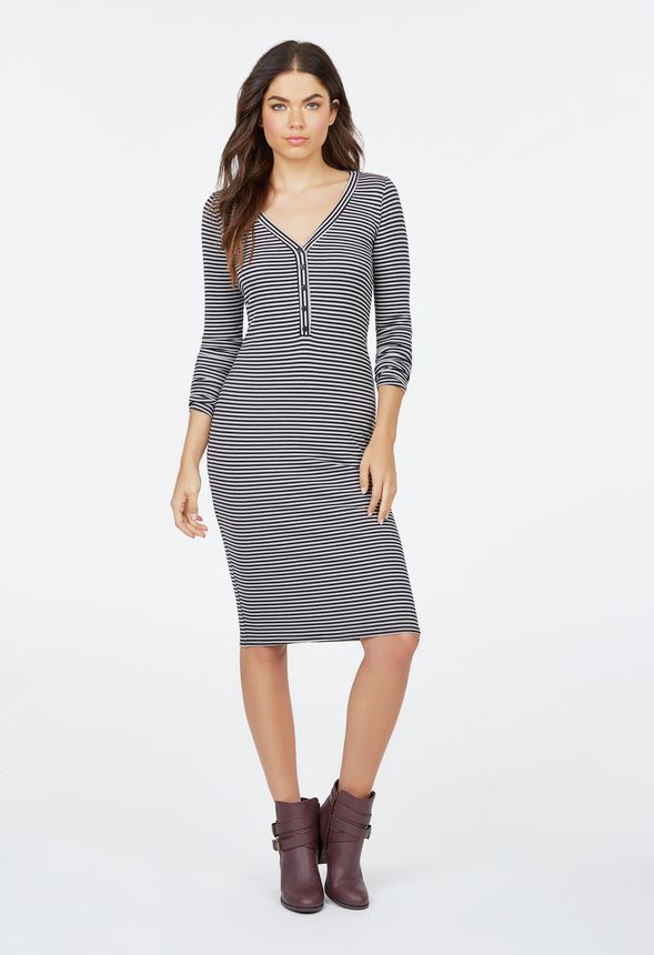 079e17f1c194 Henley Rib Knit Dress in Black Multi - Get great deals at JustFab