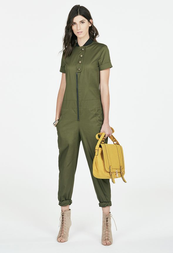 e5c0f03f25419 Project Runway Jumpsuit in Olive - Get great deals at JustFab