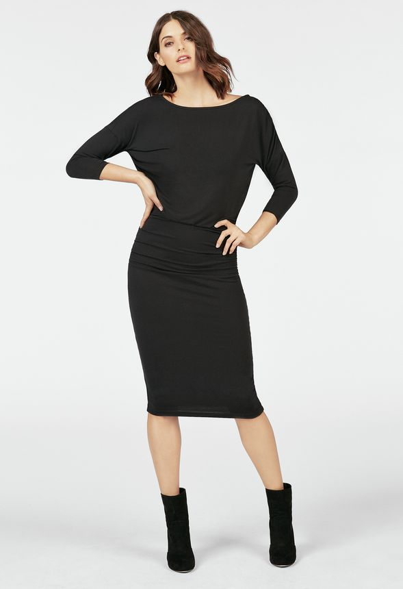 c7f14e8c26ad Relaxed Dolman Dress in Black - Get great deals at JustFab