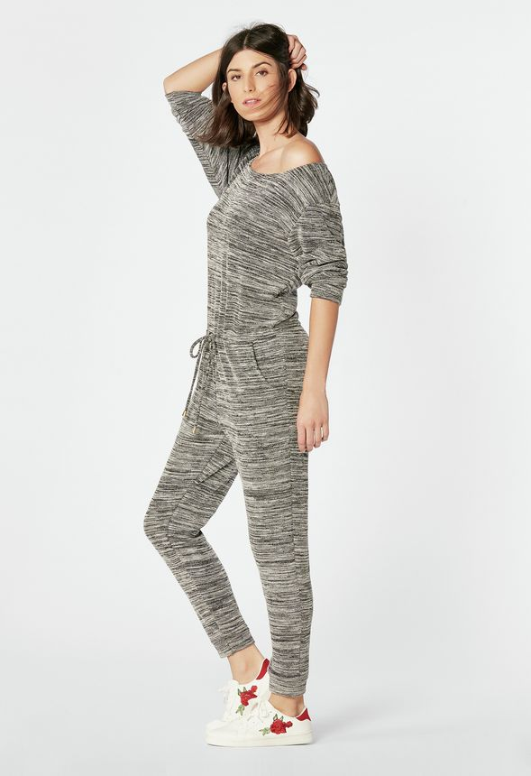 bc624c50837 Relaxed Knit Jumpsuit in Black Multi - Get great deals at JustFab