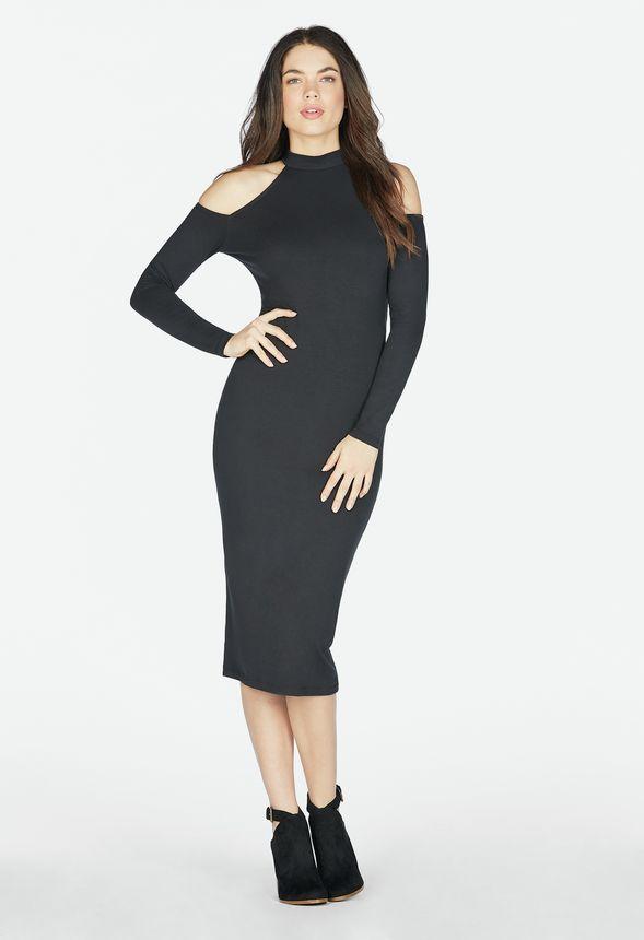 f0dfa784e3 Cold Shoulder Midi Dress in Black - Get great deals at JustFab