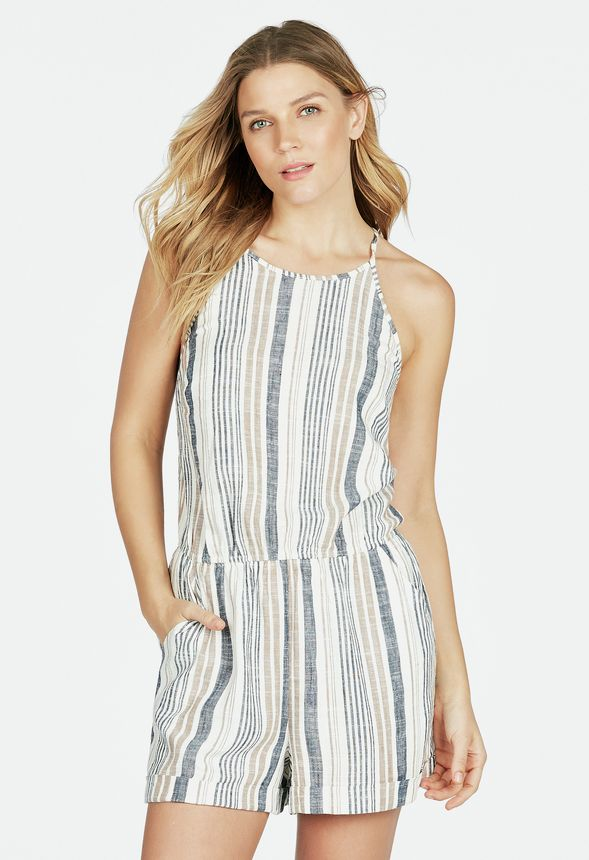 50cef980d60 Linen Romper in Blue Multi - Get great deals at JustFab