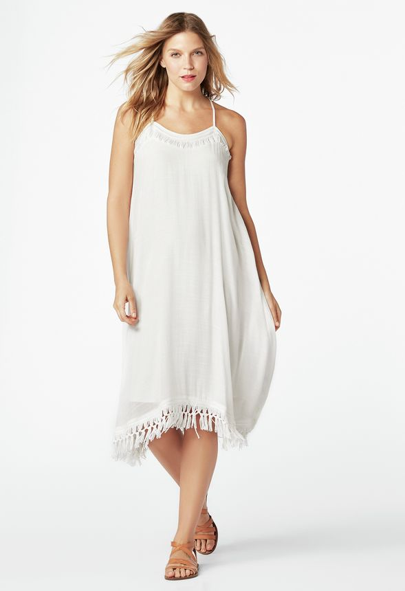 Macrame Handkerchief Dress In Off White Get Great Deals At Justfab