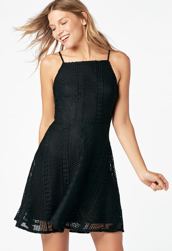 Summer Lace Fit And Flare Dress In Black Get Great Deals At Justfab