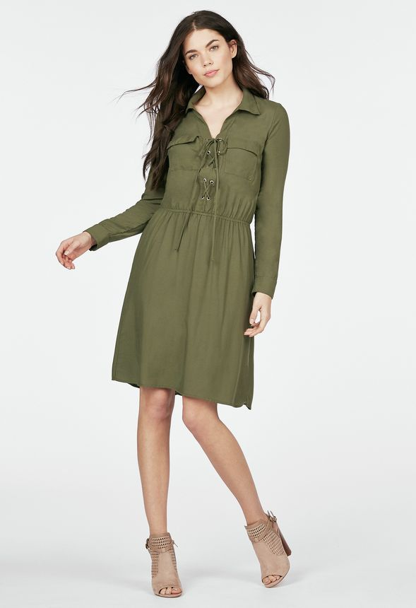 Lace Up Shirt Dress in Olive - Get great deals at JustFab 71c1fd58c