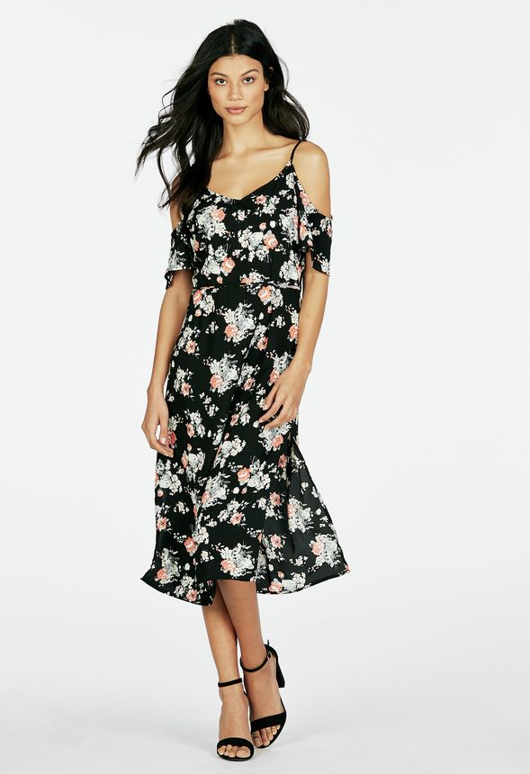 6c5e131b5aee Cold Shoulder Floral Dress in Black Multi - Get great deals at JustFab