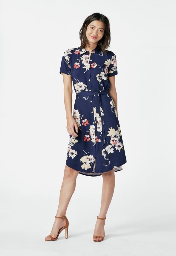 Belted Shirt Dress in Navy Multi - Get great deals at JustFab ae55fc7f7