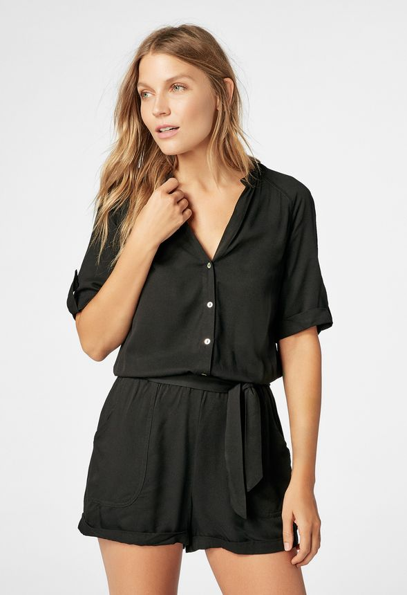 124688bcc2f Button Down Sash Romper in Black - Get great deals at JustFab