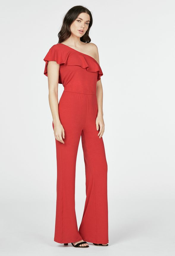 d98786db65f64 One Shoulder Flounce Jumpsuit in cayenne red - Get great deals at JustFab