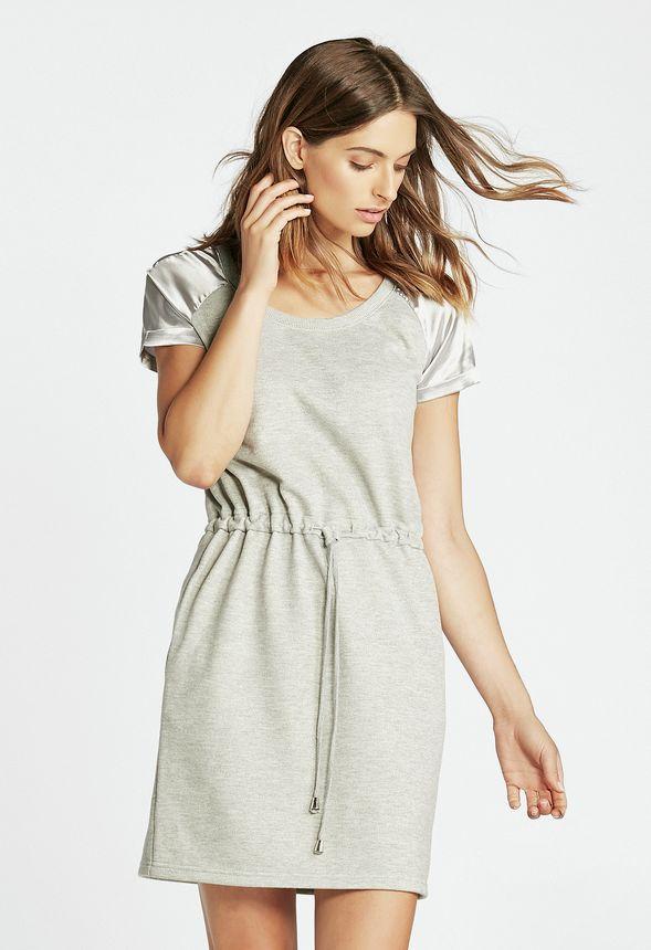 b429025101a979 Satin Shoulder Sweatshirt Dress in heather grey - Get great deals at JustFab