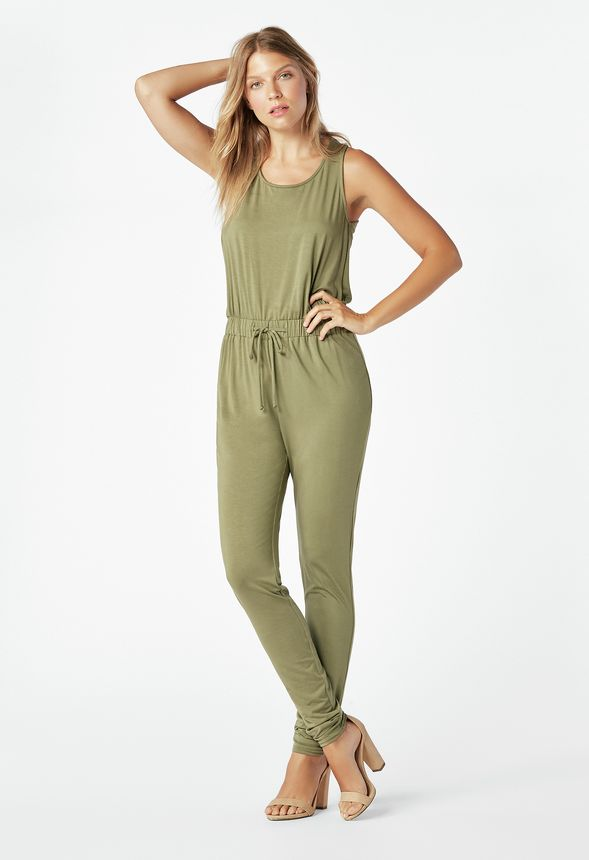 858fadfcc750 Drawstring Tank Jumpsuit in dark olive - Get great deals at JustFab