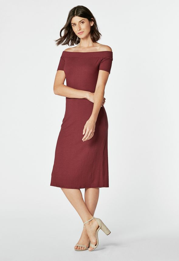 272e970665 Off Shoulder Midi Dress in Oxblood - Get great deals at JustFab
