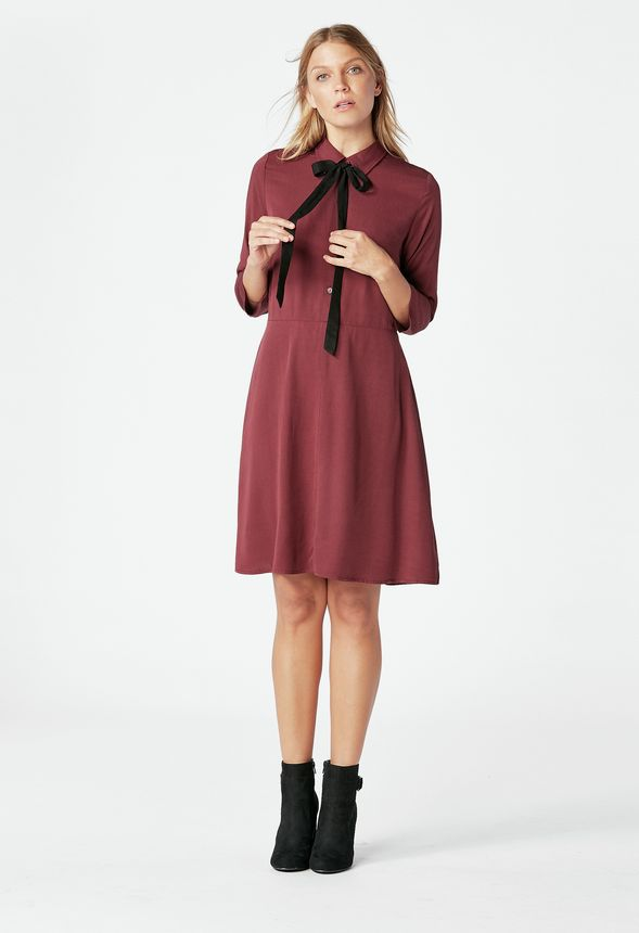 Bow Tie Skater Dress in oxblood - Get great deals at JustFab 4ce3ba535