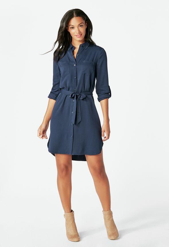 10894f15a0585 Two Pocket Shirt Dress in dark indigo - Get great deals at JustFab