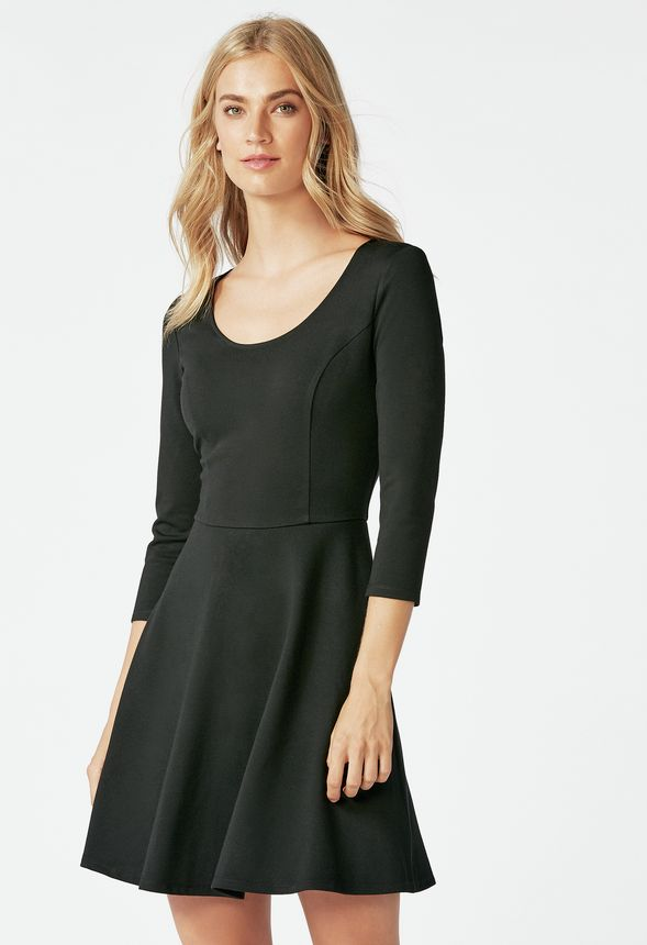 Fit and flare ponte knit dress in black get great deals at justfab new publicscrutiny Images