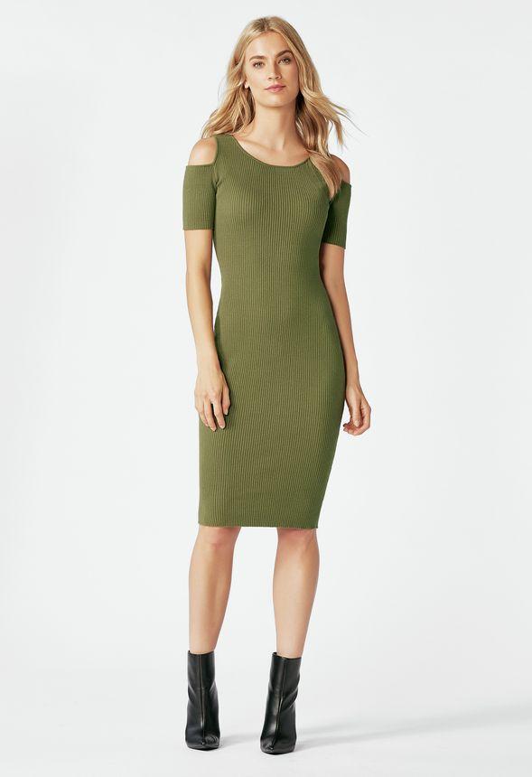 Cold Shoulder Rib Sweater Dress In Dark Olive Get Great