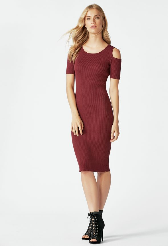 bbeae28a74c Cold Shoulder Rib Sweater Dress in Oxblood - Get great deals at JustFab