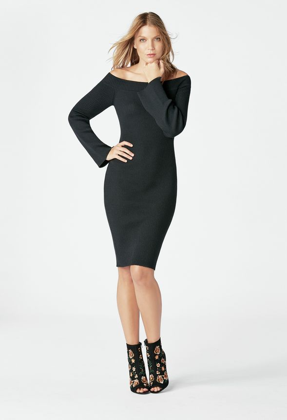 4075f163bb4 Off Shoulder Sweater Dress in Black - Get great deals at JustFab