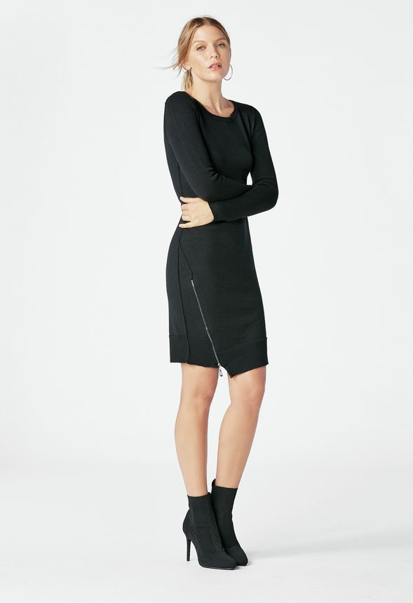 63e7d773925 Zip Sweater Dress in Black - Get great deals at JustFab