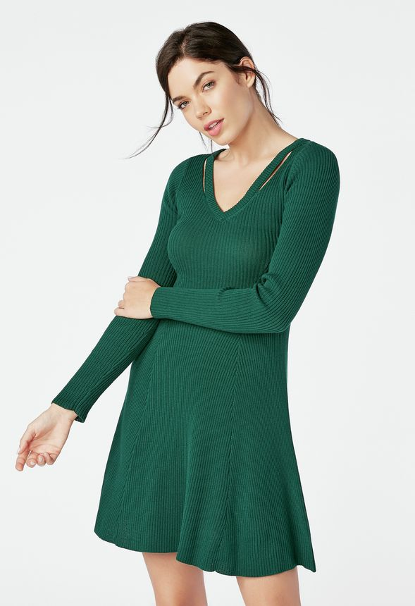 Cutout Fit   Flare Sweater Dress in winter green - Get great deals at  JustFab 17d839d9f