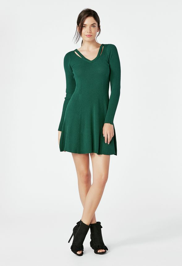 6036b436235 Cutout Fit   Flare Sweater Dress in WINTER GREEN - Get great deals ...