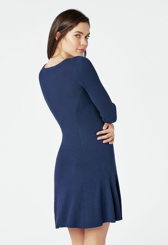 ceecc66890b Cutout Fit   Flare Sweater Dress in INDIGO - Get great deals at JustFab