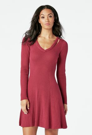 dc559b6d3e2 Fit And Flare Sweater Dress in Fit And Flare Sweater Dress - Get ...