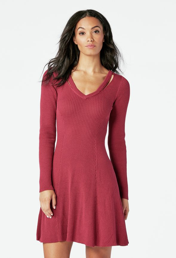 306ac2c3f48 Cutout Fit   Flare Sweater Dress in RED VELVET - Get great deals at JustFab