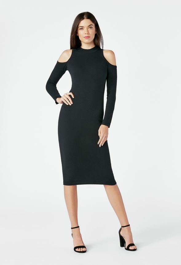 aafd627dca44 Cold Shoulder Rib Sweater Dress in Black - Get great deals at JustFab